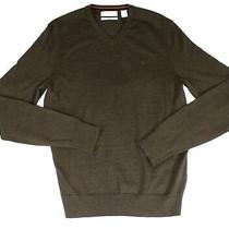 Calvin Klein Mens Sweater Green Size Small S v-Neck Wool Solid Pullover 75 044 Photo
