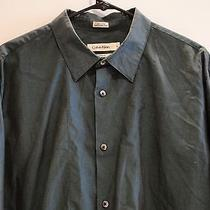 Calvin Klein Modern Fit Men's Button Down Long Sleeve Blue With a Black Shine Xl Photo