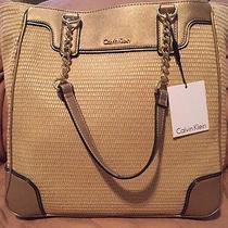 Calvin Klein Natural Gold Woven Shopper Tote Handbag H4abl2je Nwt 198 Nwt Large Photo
