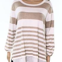 Calvin Klein New Beige Women's Size Xl Striped Scoop Neck Sweater 82 406 Photo