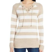 Calvin Klein New Beige Womens Size Xs Lace-Up Striped v-Neck Sweater 92 912 Photo