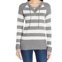 Calvin Klein New Gray White Women's Xl Stripe Lace-Up v-Neck Sweater 79 503 Photo