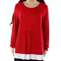 Calvin Klein New Red White Women Medium M Scoop Neck Knitted Sweater 79 844 Photo