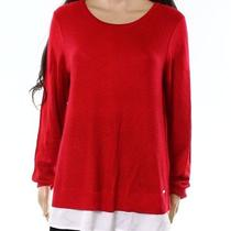 Calvin Klein New Red White Women Xl Textured Scoop Neck Knitted Sweater 79 845 Photo