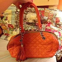 Calvin Klein Orange-Salmon Quilted Leather Purse Photo