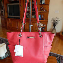 Calvin Klein Pebbled Leather Miami Pink Tote/carryall  Dust Bag Nwt 228 Photo