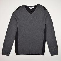 Calvin Klein Ribbed Knit Colorblock v-Neck Sweater Modal Gray Heather Size L New Photo