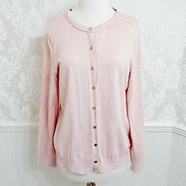 Calvin Klein Rose Blush Pink Cardigan Sweater W/ Gold Buttons - Size Large Photo