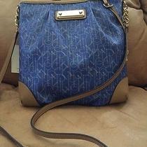 Calvin Klein Signature Logo Handbag Purse Crossbody Shoulder Blue Tan Nwt 178 Photo