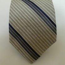 Calvin Klein Silk Necktie Heather Grey Stripe Nwt Tie Photo