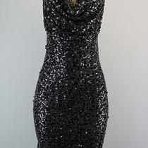 Calvin Klein Sleeveless Scoop Neck Sequined Dress Black Silver Size 4p Lulu Photo