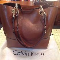 Calvin Klein Sonoma Reversible Novelty Tote With Pouch Brown Luggage Retail 148 Photo