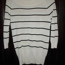 Calvin Klein Sweater Lot White Pink Black Stripe Off Shoulder Sz Xs Made in Usa Photo