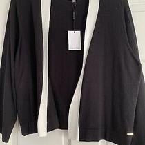 Calvin Klein Sweater Open Shrug Black White Size L Women New Nwt Photo