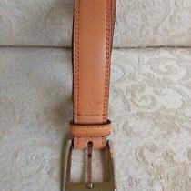 Calvin Klein Tan Genuine Leather Classic Belt Sz 36 Silver Buckle 1.25