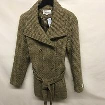 Calvin Klein Taupe Textured Wool Blend Double Breasted Sz Sm Coat Gold Buttons Photo