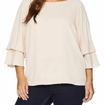 Calvin Klein Women's Blouse Blush Pink Size 1x Layered Ruffled Sleeves 89 124 Photo