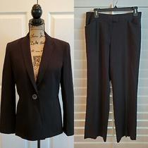 Calvin Klein Women's Business Black Stretch Pant Suit Blazer Lined Size 6 Photo