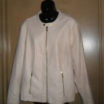 Calvin Klein Women's Faux Leather Jacket Blush Light Pinkish Color Size 2 X Photo