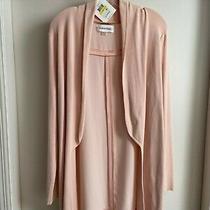Calvin Klein Women's Size M Blush Long Length Open Front Cardigan Sweater Euc Photo