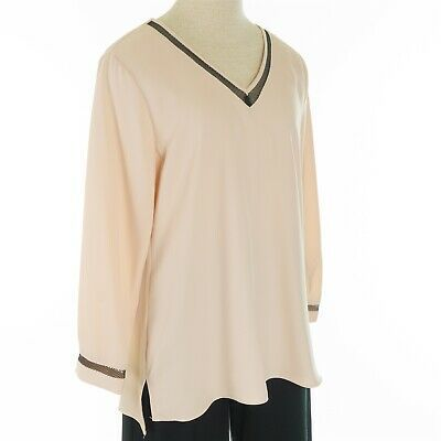 Calvin Klein Women's Size Small Blush Pink Long Sleeve V-Neck Blouse Top $79.50 Photo
