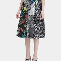Calvin Klein Women's Skirt Black Size 6 a-Line Patchwork Floral Print 89 391 Photo