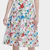 Calvin Klein Women's Skirt White Size 6 Floral Printed Midi a-Line 89 221 Photo