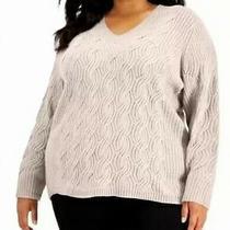 Calvin Klein Women's Sweater Blush Pink Size 1x Plus v-Neck Pullover 99 217 Photo