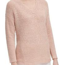 Calvin Klein Women's Sweater Blush Pink Size Medium M v-Neck Crochet 89 179 Photo