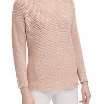 Calvin Klein Women's Sweater Blush Pink Size Xl v-Neck Open-Stitch 89 019 Photo