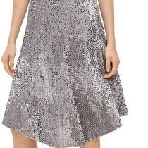 Calvin Klein Women Skirt Silver Size Small S a-Line Sequin Velour Midi 119 310 Photo