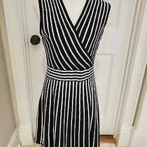 Calvin Klein Womens Black & White Knit Striped Dress Size M Excellent Cond Nice Photo