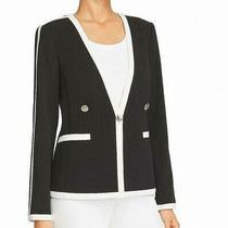 Calvin Klein Womens Blazer Black Size 2 Contrast Pipping Single Button 139 336 Photo