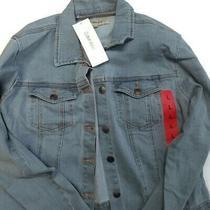 Calvin Klein Womens Denim Trucker Jacket Light Wash Blue Night Out Casual New L Photo