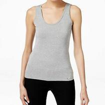 Calvin Klein Womens New 1040 Gray Sleeveless Scoop Neck Vest Casual Top S Bb Photo