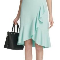 Calvin Klein Womens Skirt Blue Size 2p Petite Asymmetrical Ruffle Tulip 99 314 Photo