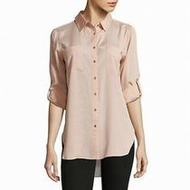 Calvin Klein Womens Top Blush Pink Size Small S Button Down Shirt 69 052 Photo