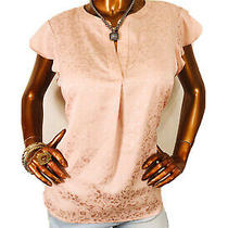 Calvin Klein Xl Nwt 59 Top Floral Ck Blouse Short Cap Sleeves Blush Y Neck Photo