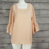 Calvin Klein Xs Bell Sleeve Blouse 3/4 Sleeve Top Blush Pink Textured Nwt 79 Photo