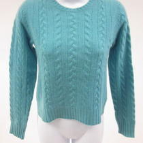 Calypso Aqua Cashmere Long Sleeve Cable Knit Sweater Size Xs Photo