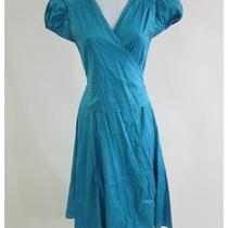 Calypso Blue Silk Short Sleeve v Neck Knee Length Pleated Wrap Dress Sz Xs Photo