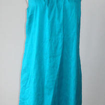 Calypso Glitz Brilliant Aqua Blue Sleeveless Ruffle Trim Silk Dress - M Photo