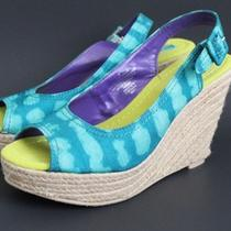 Calypso St. Barth for Target Aqua Wedge Espadrille Platform Sandals Shoes Size 6 Photo