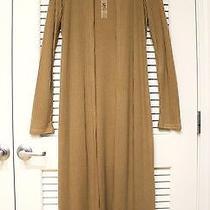 Camel Long Slev Maxi Knit Open Cardigan M  Anthropologie Earrings Photo