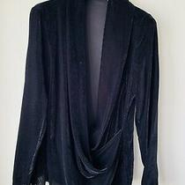 Camilla and Marc Illusion Long Sleeve Top Jet Black Velvet Sz 6 Photo