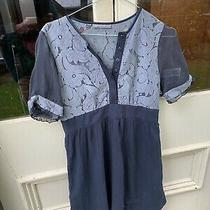 Camilla and Marc Silk Dress in Size 12. Grey Lace Detail. Sheer Sleeves Photo