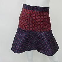 Camilla and Marc Women's Anchar Navy Blue/red Fluted Mini Skirt Size 6 Photo