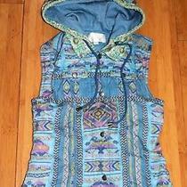 Camilla Brand Girls Blue Aztec Sleeveless Hoodie Size S Like New An02 Photo
