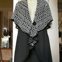 Camilla & Co. Gray Wrap Sleeveless Jacket W/ Shawl Like Drape on Shoulder Sz Sm Photo