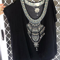 Camilla Franks Black Embellished Loose Fit Tee Shirt Top Size Xs 4 Express Photo